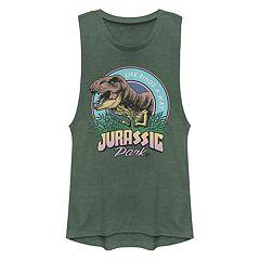 759fdc115edb5 Juniors  Women s Jurassic Park T-Rex Drawn Circle Logo Muscle Tank Top