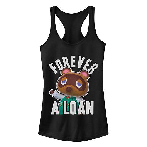 "Juniors' ""Animal Corssing Forever A Loan"" Racerback Tank"