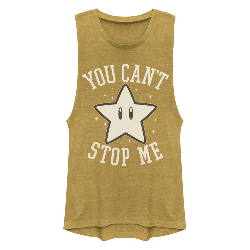 "Juniors' Super Mario Bros. Star ""You Cant Stop Me"" Muscle Tank Top"