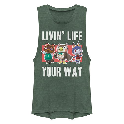 Juniors' Animal Crossing Living Life Your Way Muscle Tank Top