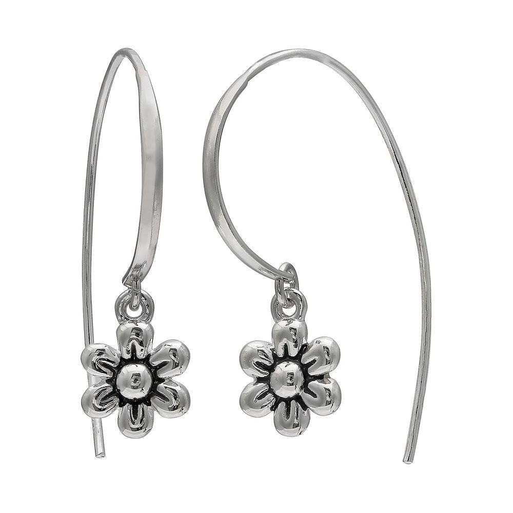 PRIMROSE Sterling Silver Flower Threader Earrings