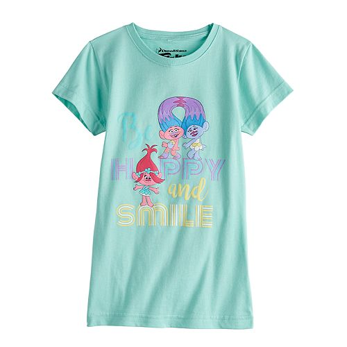 "Girls 7-16 Dreamworks Trolls ""Be Happy and Smile"" Graphic Tee"