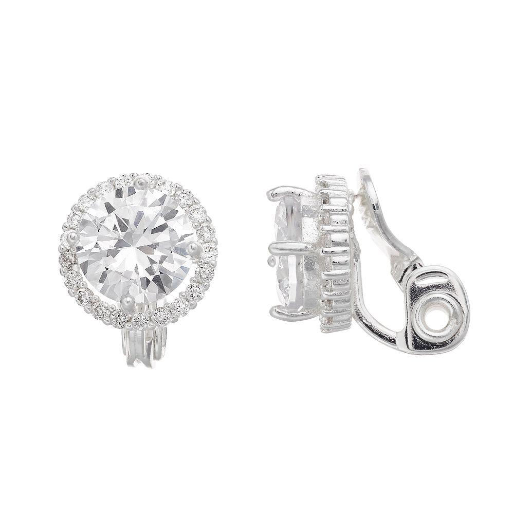 Women's Napier Halo Silver Button Clip Earrings