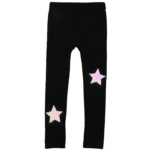 Girls 4-14 Elli by Capelli Fleece-Lined Seamless Sequin Star Patch Leggings