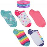 Girls 4-16 Elli by Capelli 5-Pack Critters No-Show Socks