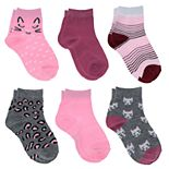 Girls 4-16 Elli by Capelli 6-Pack Mixed Icons Ankle Socks