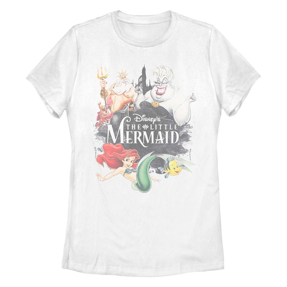 Juniors' Disney's The Little Mermaid Watercolor Missy Crew Tee