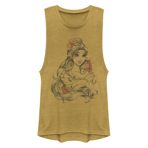Juniors' Disney's Beauty and the Beast Beauty Flower Muscle Tank Top