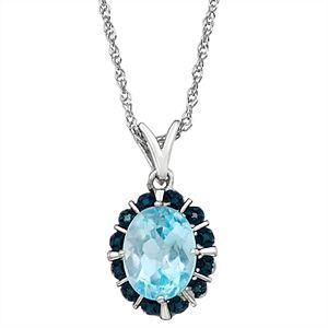 Sterling Silver 2.30 Carat T.W. Blue Topaz & Blue Diamond Accent Pendant Necklace