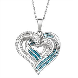 Sterling Silver 1 Carat T.W. Blue & White Diamond Heart Pendant Necklace