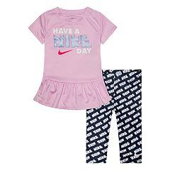 Toddler Girl Nike Dri-FIT 'Have a Nike Day' Peplum-Hem Tunic & Printed Leggings Set