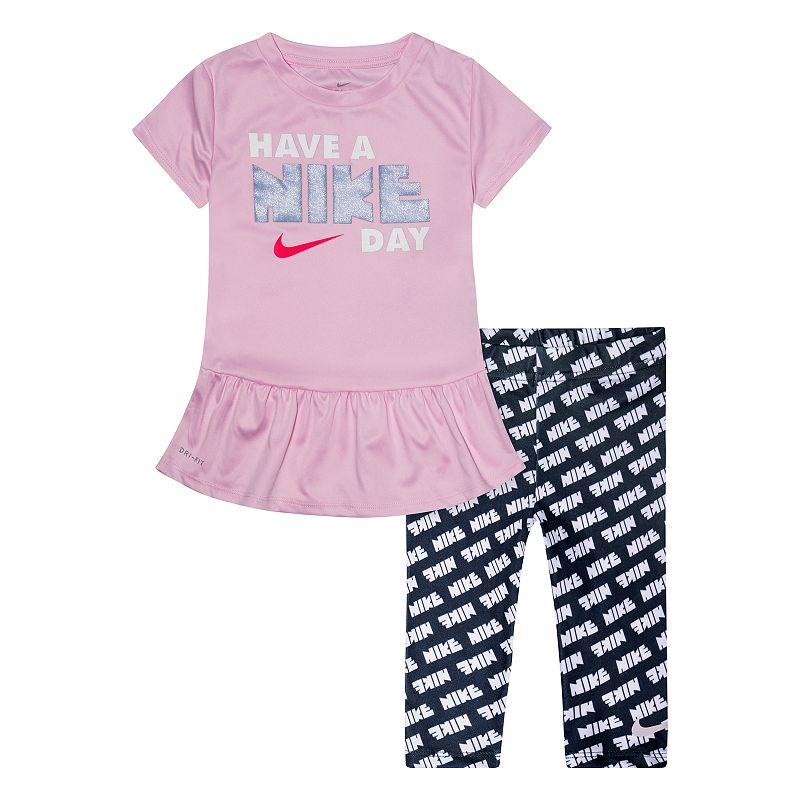 Toddler Girl Nike Dri-FIT  Have a Nike Day  Peplum-Hem Tunic & Printed Leggings Set, Girl's, Size: 2T, Blue She'll have a  Nike day  in this girls' Nike Dri-FIT tunic top and capri leggings set. 2-piece set includes: tunic & leggings Tunic: crewneck, short sleeves, peplum hem,  have a Nike day  graphic Leggings: elastic waistband, logo print Dri-FIT moisture-wicking fabric FABRIC & CARE Tunic: polyester Machine wash Imported Size: 2T. Color: Blue. Gender: female. Age Group: kids.