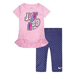Toddler Girl Nike Dri-FIT 'Just Do It' Peplum-Hem Tunic & Printed Leggings Set
