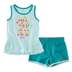 Toddler Girl Nike 'My Way All Day' Glittery Graphic Tank Top & Shorts Set