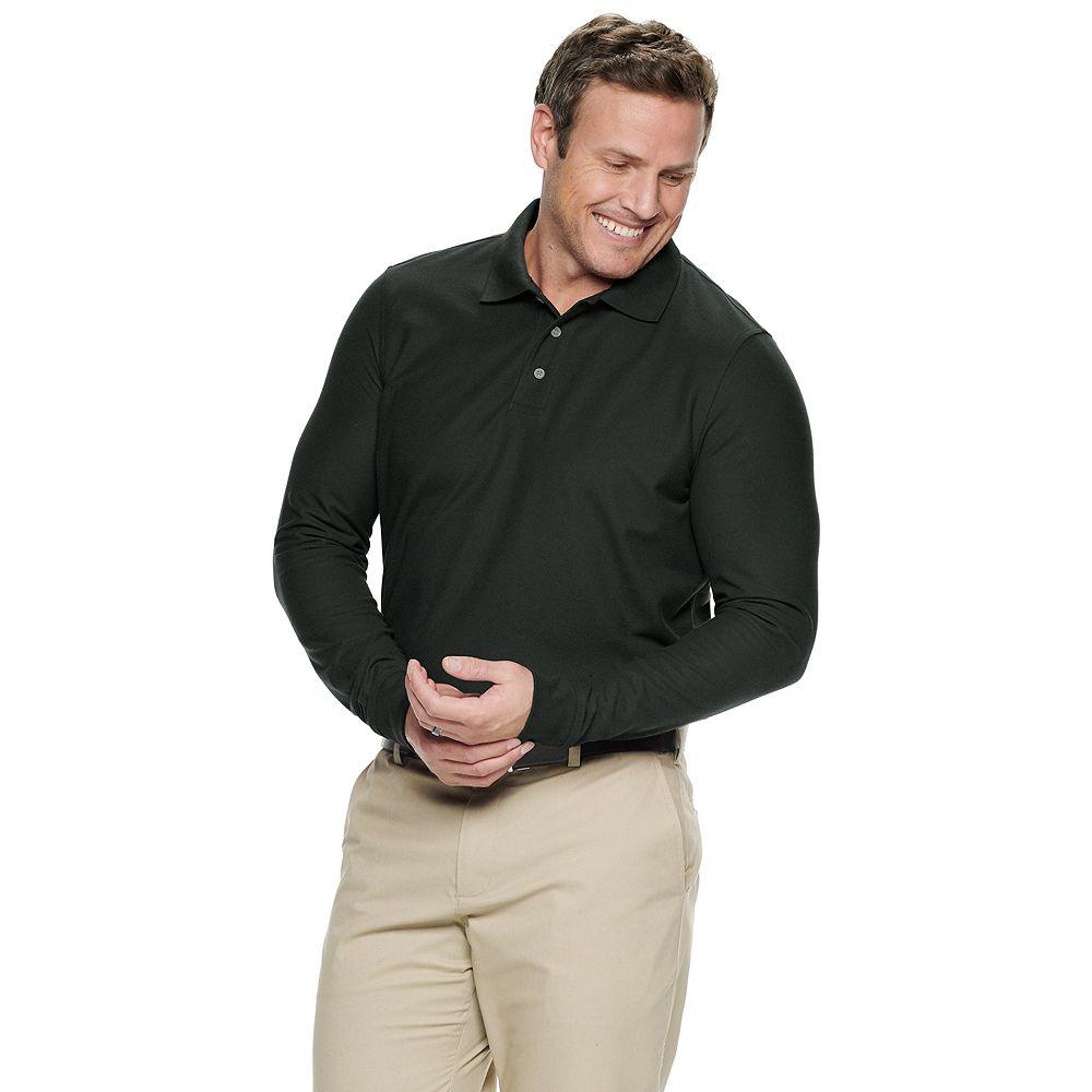 Big & Tall Croft & Barrow® Button-up Long Sleeve Easy Care Pique Polo Shirt
