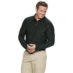Big & Tall Croft & Barrow Button-up Long Sleeve Easy Care Pique Polo Shirt
