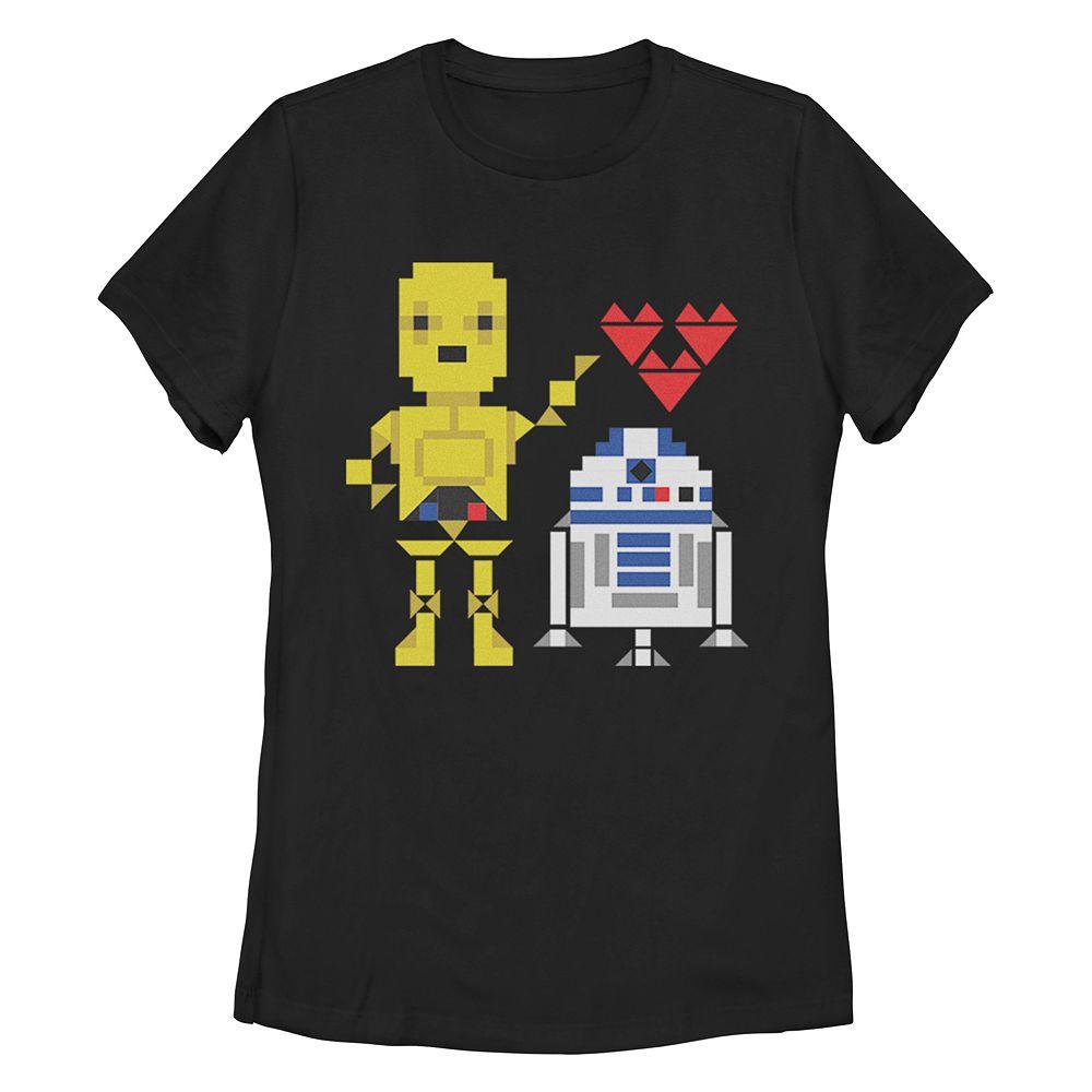 Juniors' Star Wars R2 C3PO Love Crew Tee