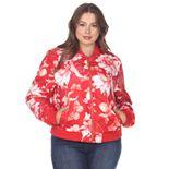 Plus Size White Mark Floral Bomber Jacket