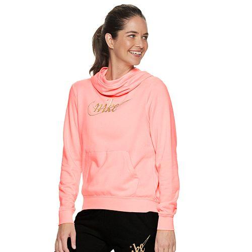 Women's Nike Sportswear Glitter Swoosh Funnel Neck Pullover Fleece Hoodie by Nike