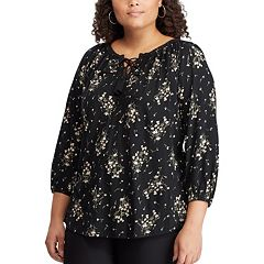 Plus Size Chaps Printed Lace-Up Peasant Top
