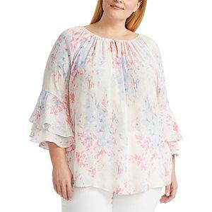 Plus Size Chaps Ruffle Sleeve Blouse