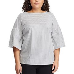 Plus Size Chaps Pinstripe Bell Sleeve Blouse