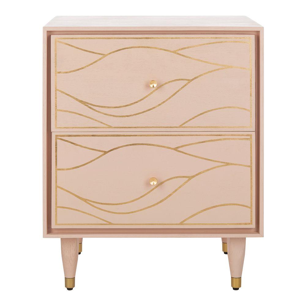 Safavieh Broderick Antique Gold Wave Nightstand