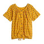 Girls 7-16 SO® Button Front Tie Top