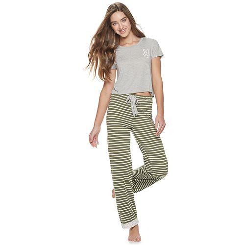 Juniors' Wallflower Crop Sleep Tee & Pajama Pants Set