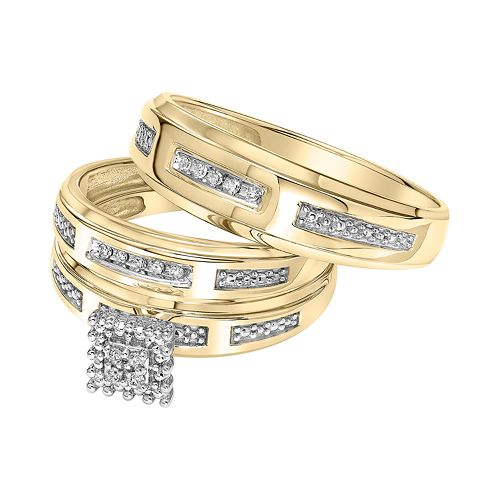 Lovemark 10k Gold Diamond Accent Trio Ring Set