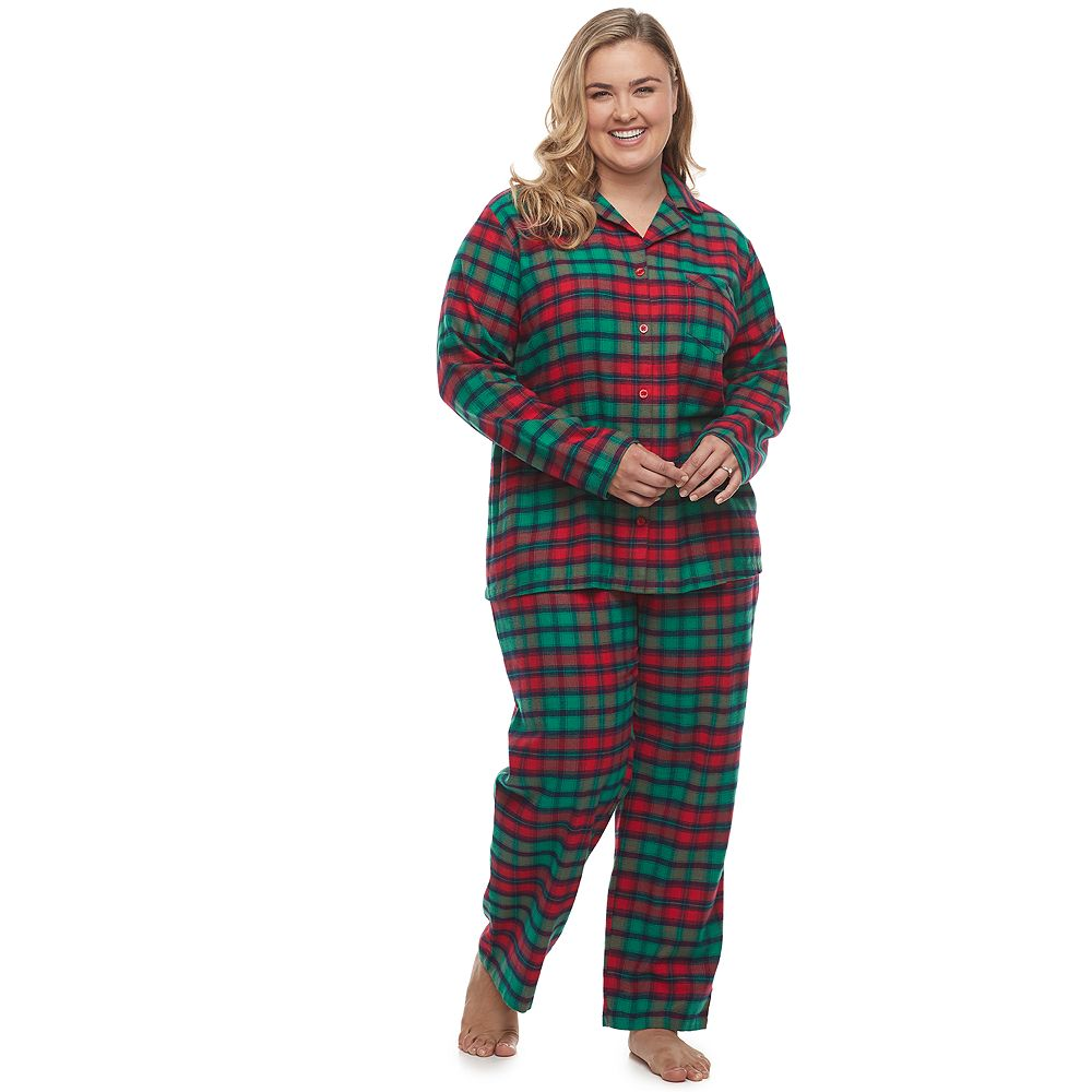 Plus Size Jammies For Your Families® Red Plaid Notch Family Flannel Pajama Set