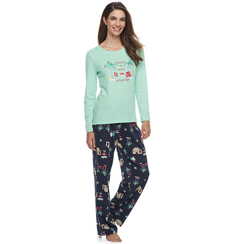 Women's Jammies For Your Families® Flip Flop Holiday Family Tee & Pants Sleep Set