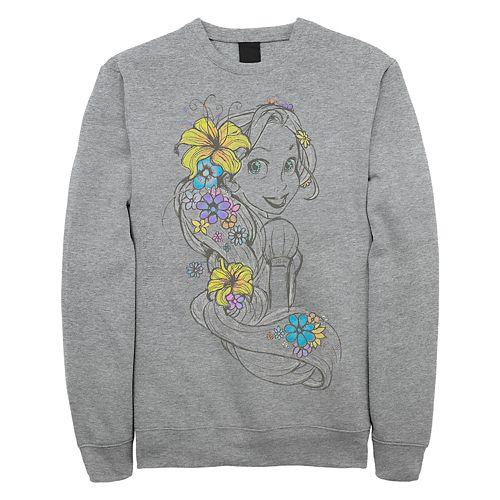 Juniors' Disney's Tangled Rapunzel Floral Sketch Crew Fleece Sweater