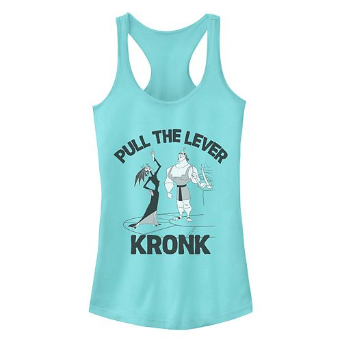Juniors Disney's The Emperor's New Grove Yzma Kronk Pull The Lever Racerback Tank