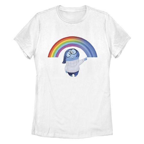 Junior's Disney/Pixar Inside Out Sadness Rainbow Missy Crew Tee