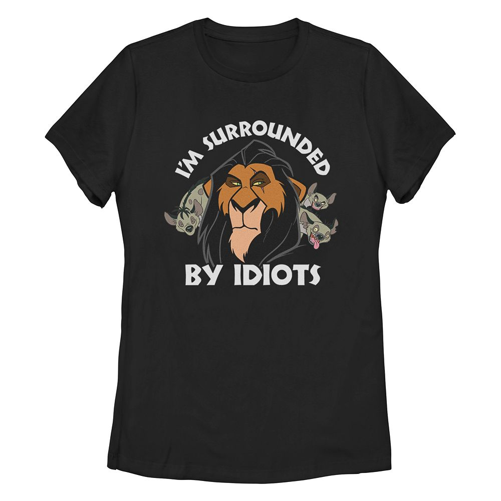 Junior's Disney's The Lion King Scar Surrounded By Idiots Missy Crew Tee