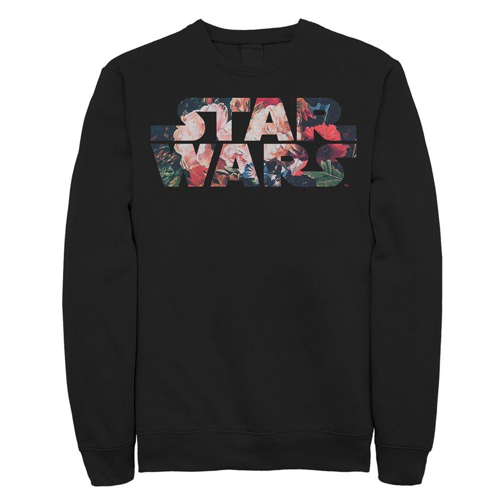 Juniors' Star Wars Floral Logo Crew Fleece Sweater