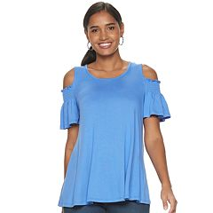 dfbd9bf976d Women's ELLE™ Smocked Cold Shoulder Top