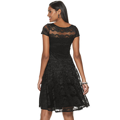 Petite Chaya Cap Sleeve Lace Fit & Flare Dress