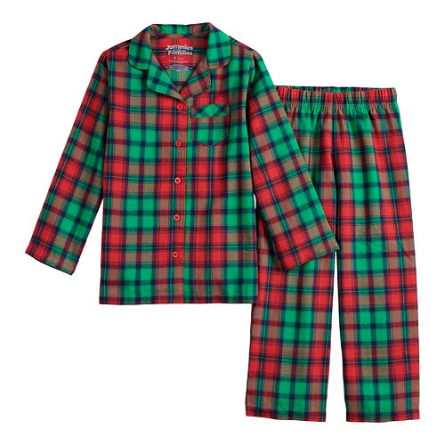 Boys 4-20 Jammies For Your Families Red Plaid Notch Family Flannel Notch Collar