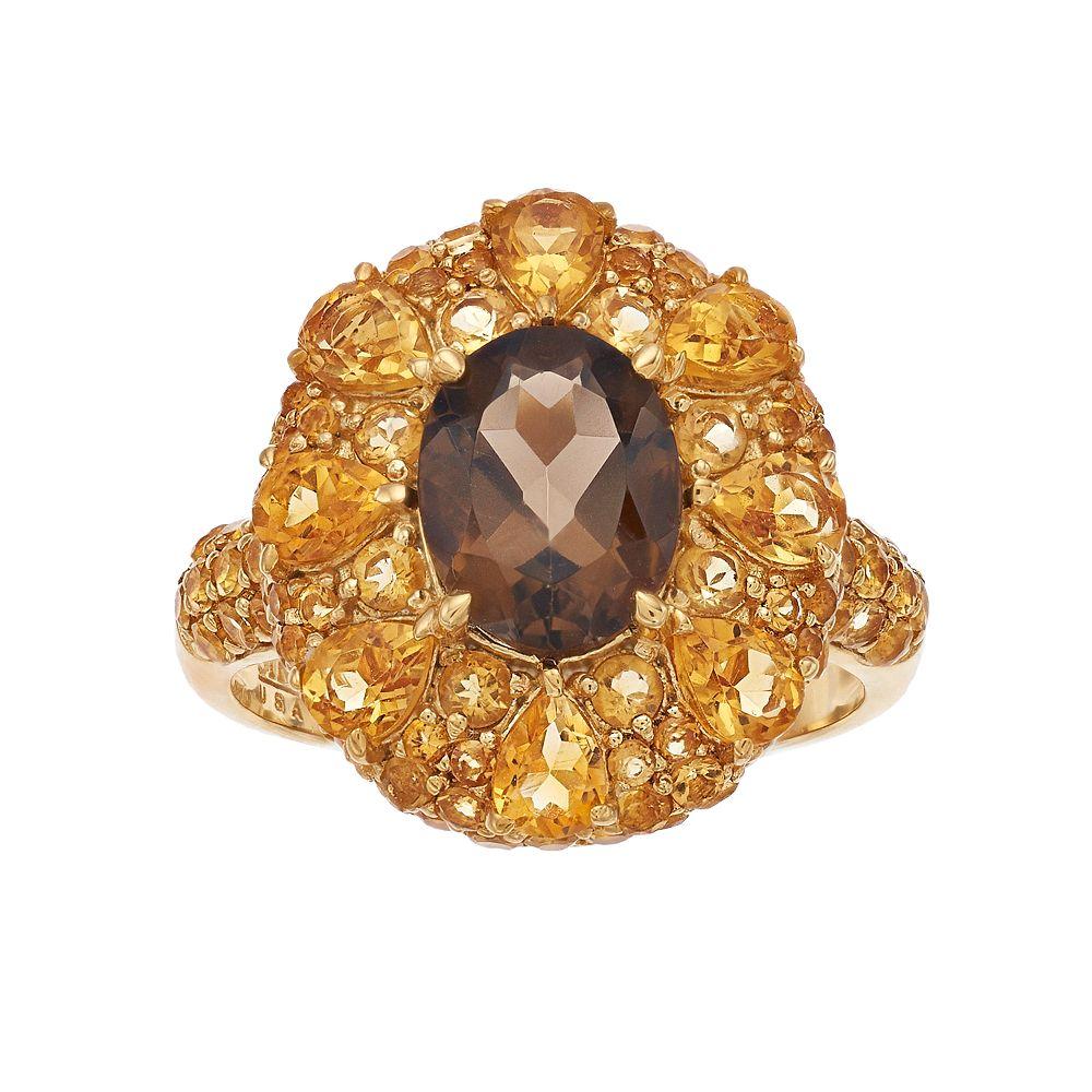 SIRI USA by TJM 18k Gold Over Silver Smoky Quartz & Citrine Ring