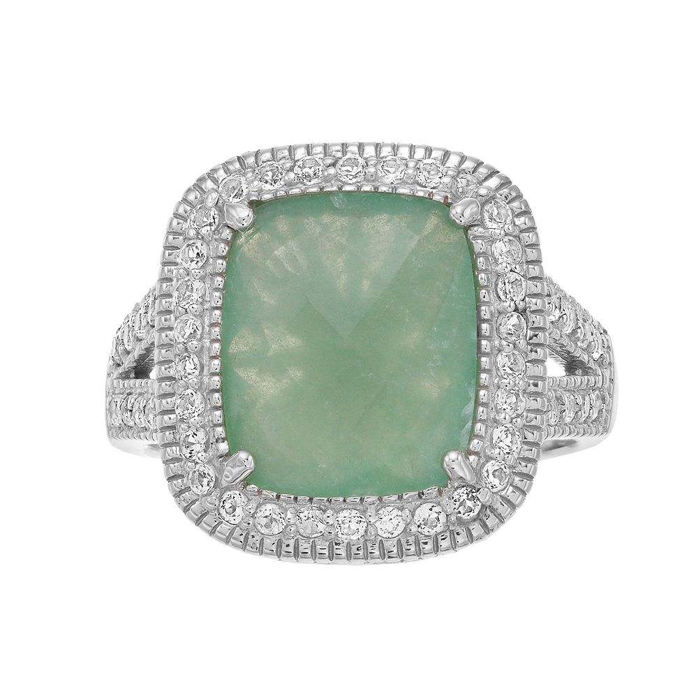 SIRI USA by TJM Sterling Silver Green Ice & White Topaz Ring