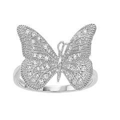 SIRI USA by TJM Sterling Silver White Topaz Butterfly Ring