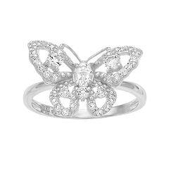 SIRI USA by TJM Sterling Silver White Topaz Filigree Butterfly Ring