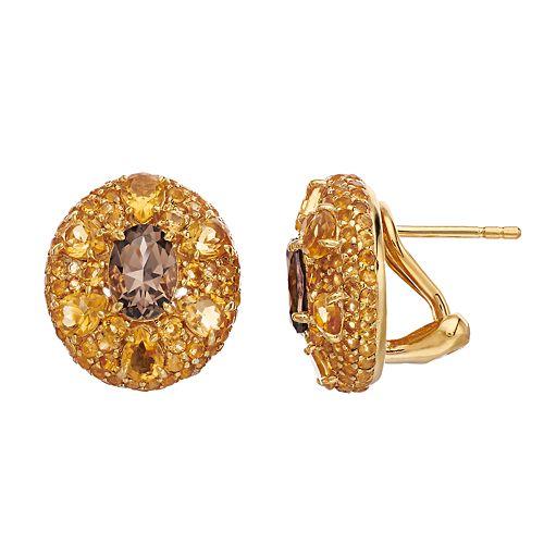 SIRI USA by TJM 18k Gold Over Silver Smoky Quartz & Citrine Stud Earrings