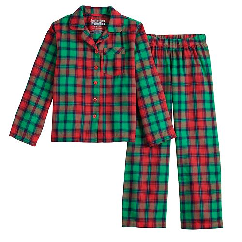 Girls 7-16 Jammies For Your Families Red Plaid Notch Family Flannel Notch Collar