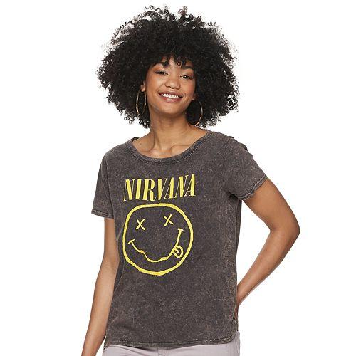 Juniors' Nirvana Smiley Graphic Tee