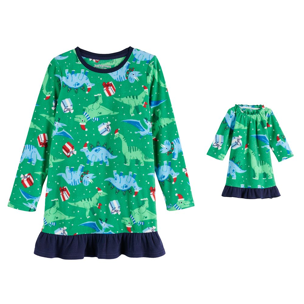 Girls 5-20 Jammies For Your Families® Dino Family Microfleece Nightgown & Doll Gown Set