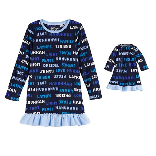 Girls 4-20 Jammies For Your Families Hanukkah Family Microfleece Nightgown & Doll Gown Set