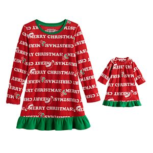 Girls 4-20 Jammies For Your Families Santa Ho Ho Ho Family Microfleece Nightgown & Doll Gown Set